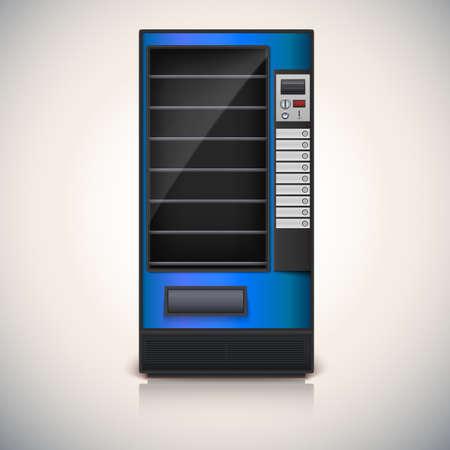 merenda: Distributore automatico con ripiani, blu coloor icona vettoriale, eps10