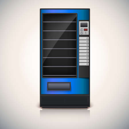 Vending Machine with shelves, blue coloor  Vector icon, eps10 Illustration