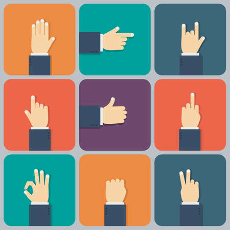 pointing finger up: Hands flat icon  Vector illustration for your startup