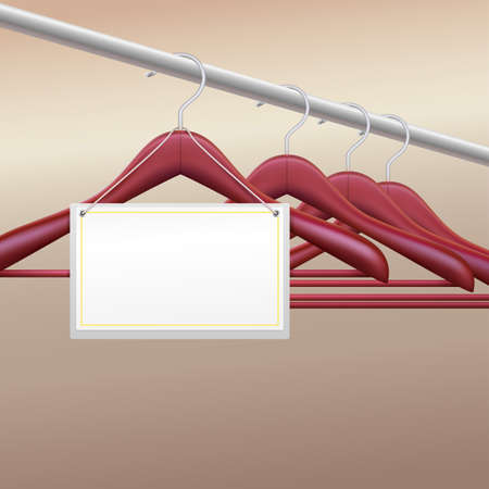 clothes rail: Wooden hangers with  blank label, vector illustration for your advertising and promotion