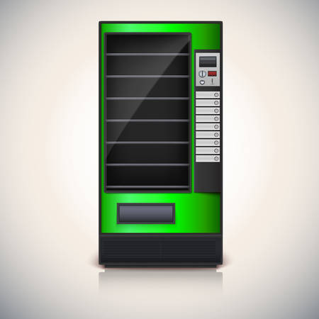 Vending Machine with shelves, green color    Illustration