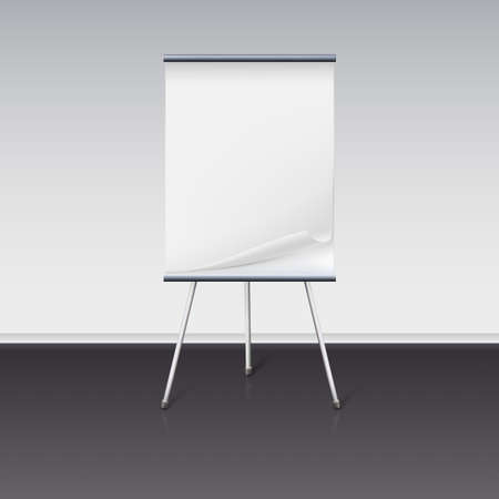 presentation background: Board for presentations with a clean sheet of paper stand about wall