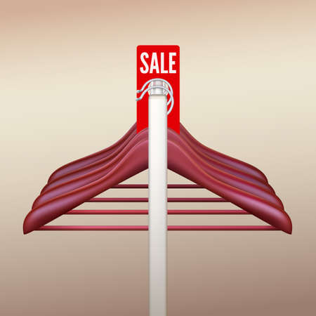 clothes rail: Clothes hangers hanging on a rack with a sign Sale  Vector illustration for your advertising and promotion