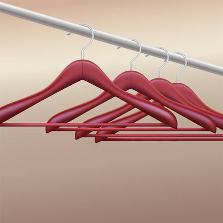 clothes rail: Wooden hangers, vector illustration for your advertising and promotion Illustration