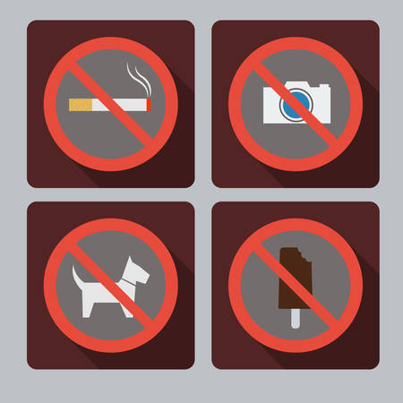Set of prohibition signs  Do not smoke, do not take pictures No animal allowed, the food is prohibited Vector
