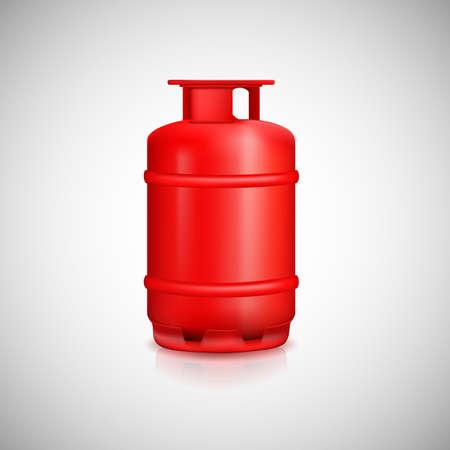 Propane gas balloon. Red gas tank, gas container. Ilustração