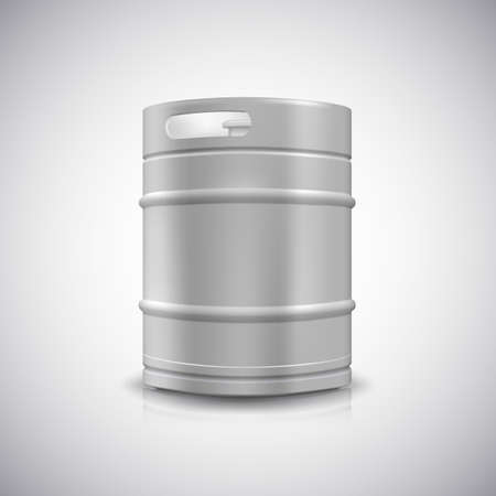 grained: Metal beer keg with grained and shadow, vector illustration.