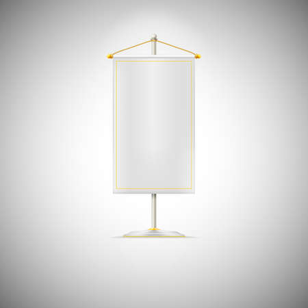 chrome base: White pennant or flag on chrome base with gold cord