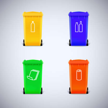 reciclar: Papeleras de reciclaje coloridos con los s�mbolos. Conjunto Ecol�gico de basura, aislado Vectores