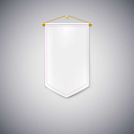 triangle flag: White pennant hanging on the wall on white background. Illustration