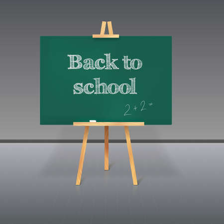 Green school board with chalk on a tripod and an inscription Back to School Illustration