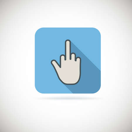 antisocial: Flat finger up icon, gesture hand. Vector. Illustration
