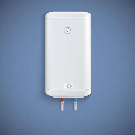 Electric water heater on colored background. Vector illustration