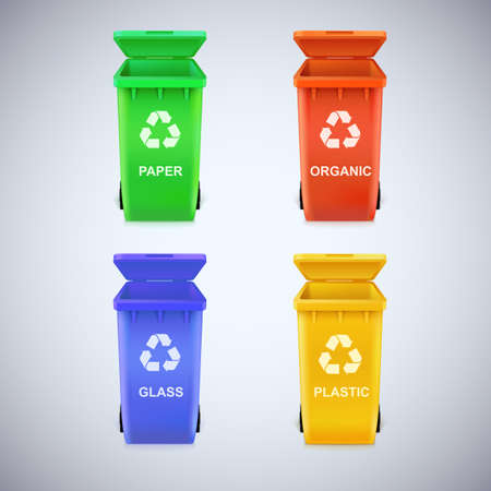recycling bin: Colorful recycle bins with recycle sign