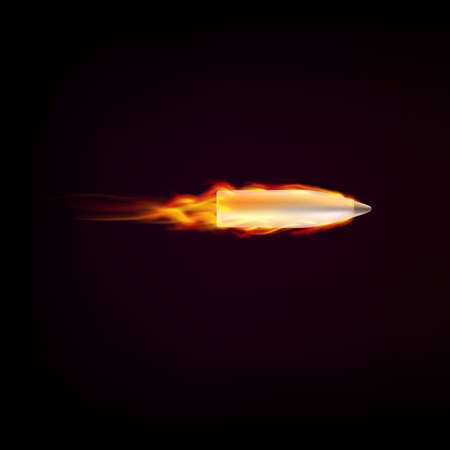 Flying bullet with red tongues of flame on a dark background