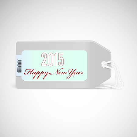 compliments: Greeting card with new year 2015 on the price tag. Vector sticker with compliments.