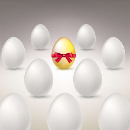 Golden Egg. Difference, uniqueness concept image. Golden egg standing out from the others. Vector