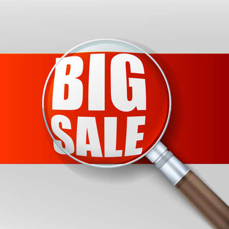 low scale magnification: Magnifying glass over red background. Banner ad big sale. Vector illustration. Illustration