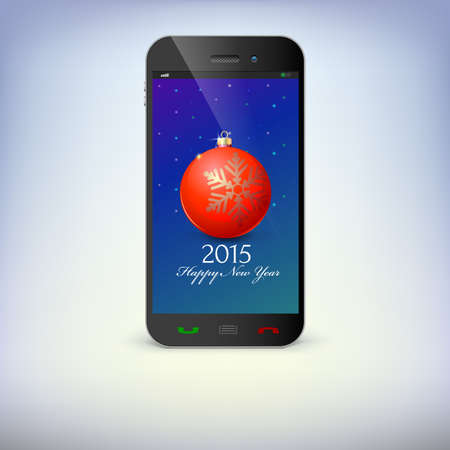 Front view of christmas phone isolated. New Year symbols in smartphone . Illustration for new years day, christmas, winter holiday, new years eve, technology, communication.