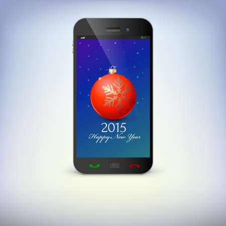 fin de a�o: Vista frontal del tel�fono Navidad aislado. Nuevos s�mbolos A�o de tel�fono inteligente. Ilustraci�n para el d�a de a�o nuevo, navidad, vacaciones de invierno, v�spera de a�o nuevo, la tecnolog�a, la comunicaci�n.