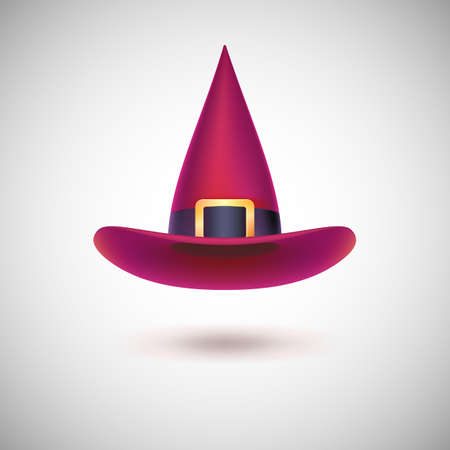Red witch hat with black strip for Halloween, isolated on white background. Ilustração