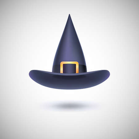 Black witch hat with black strip for Halloween, isolated on white background.