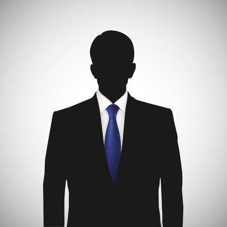 silhoette: Unknown person silhouette  whith blue tie. Profile picture, silhouette profile