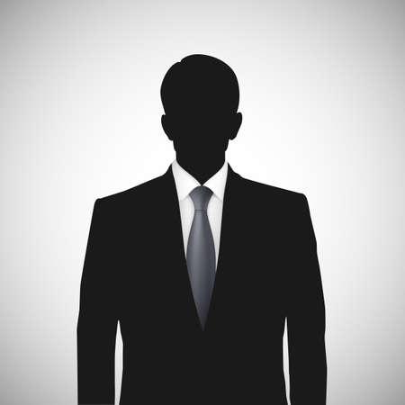 Unknown person silhouette whith tie. Profile picture, silhouette profile