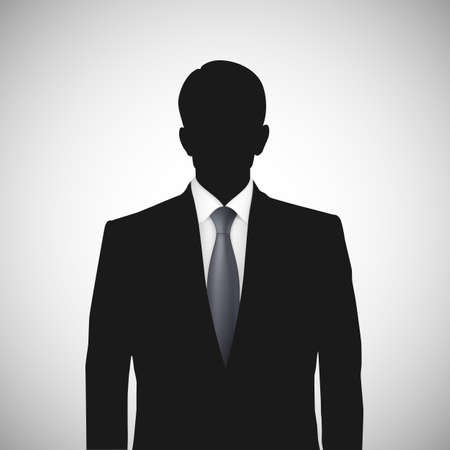 Unknown person silhouette whith tie. Profile picture, silhouette profile
