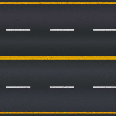 Asphalt road texture with white and yellow stripes Vector
