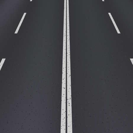 アスファルト道路斜視図。白のストライプを持つテクスチャー