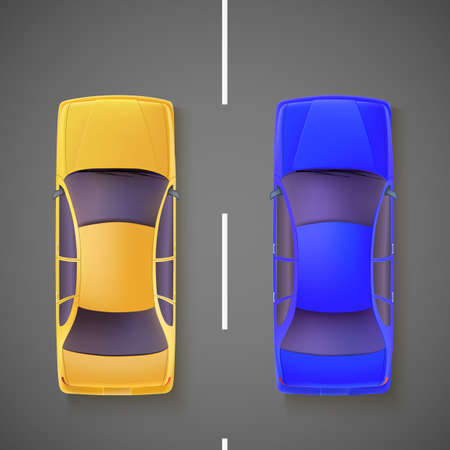상단: 도로에 노란색과 파란색 자동차, 상단에서보기