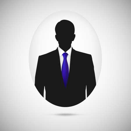 Male person silhouette. Profile picture whith blue tie, silhouette profile Vector
