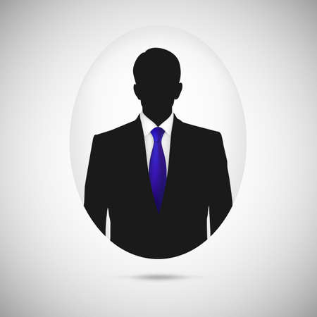 silhoette: Male person silhouette. Profile picture whith blue tie, silhouette profile Illustration