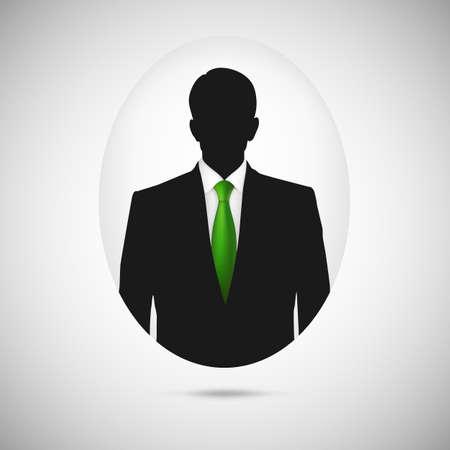 Male person silhouette. Profile picture whith green tie, silhouette profile