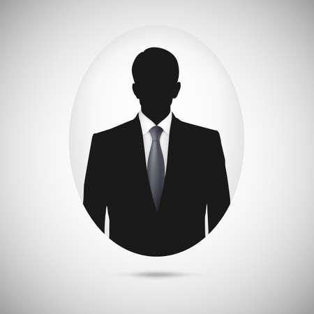 Male person silhouette. Profile picture whith tie, silhouette profile Vector