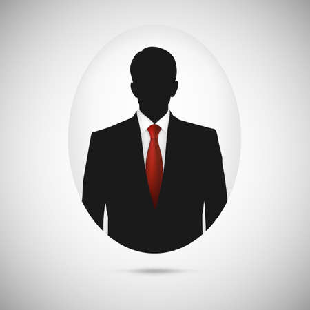 Male person silhouette. Profile picture whith red tie, silhouette profile