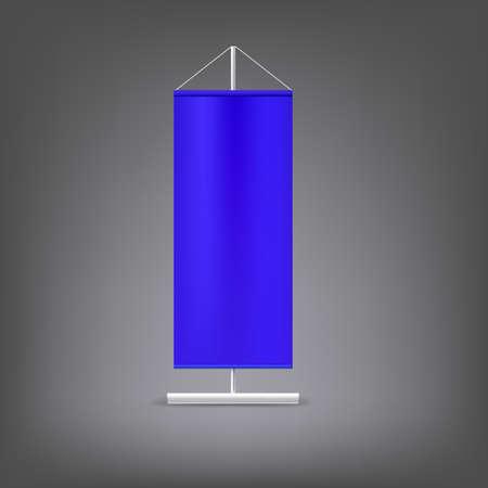 Blue advertising stand. Blank vector illustration. Template for design work Vector