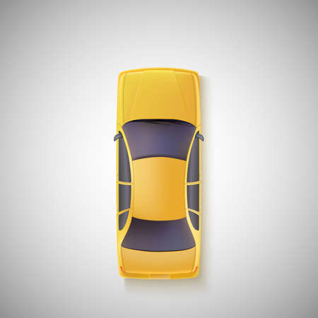 Žluté auto, taxi na bílém pozadí. Pohled shora.