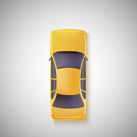 상단: 노란색 자동차, 흰색 배경에 택시. 평면도. 일러스트