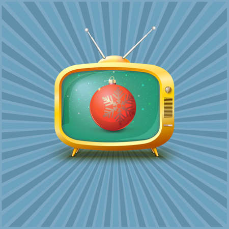 channel: Vintage TV with red Christmas ball, vector illustration.
