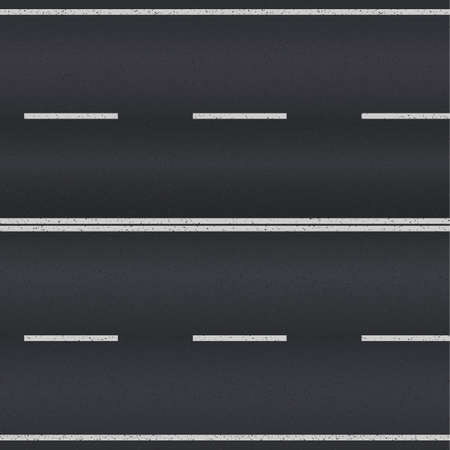 Asphalt road texture with white stripes. Vector illustration Ilustracja