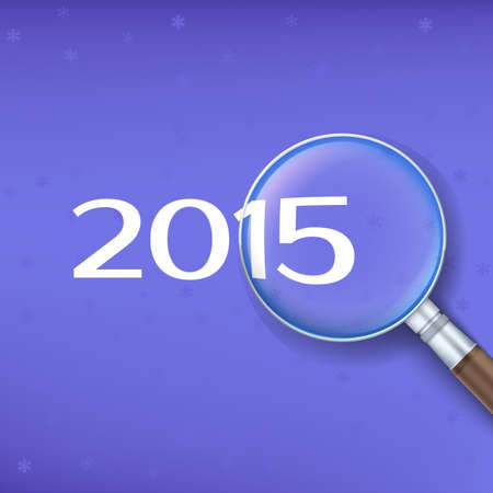 zoomed: 2015 zoomed on magnifier on bright background. Vector illustration.
