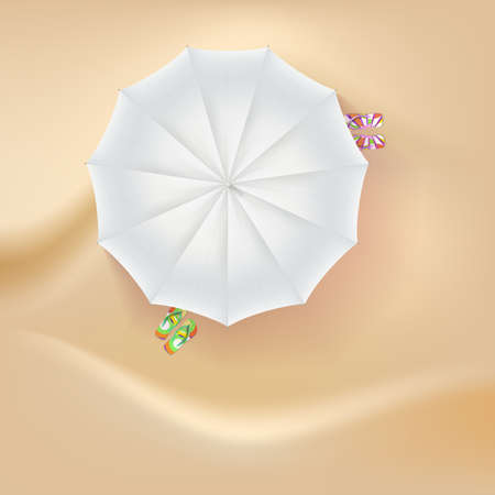sand background: Beach slippers and a sun umbrella on sand background. Vector illustration.