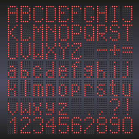 led display: Colorful red LED display against dark background. Letters, digital font