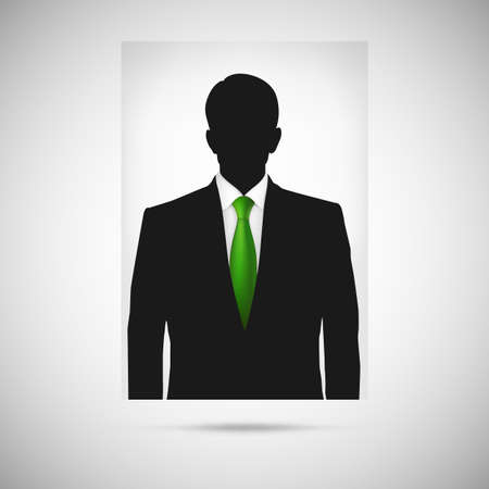 profile picture: Profile picture whith green tie. Unknown person silhouette, silhouette profile Illustration