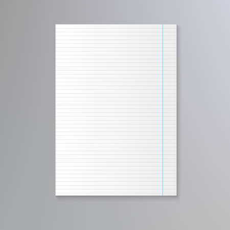 notebook paper background: Sheet of lined paper. Vector notebook paper background