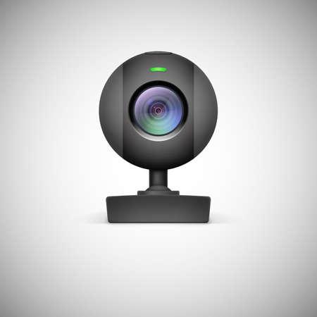 Realistic white webcam icon. Vector illustration on white background