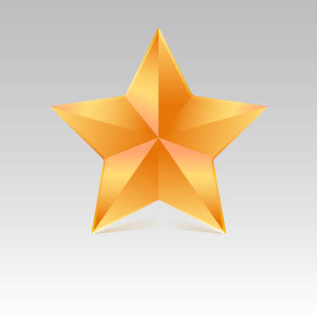 five pointed: Five pointed star with shadow, yellow color. Vector illustration.