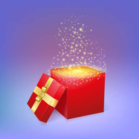 Open gift box with magic light fireworks. Vector illustration for your holiday